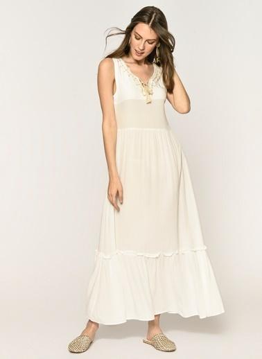 Loves You Önü Nakışlı Krinkıl Maxi Elbise Ekru